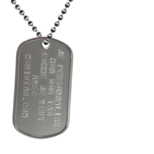 https://www.monidtag.com / Plaque Militaire Acier Le Finisher
